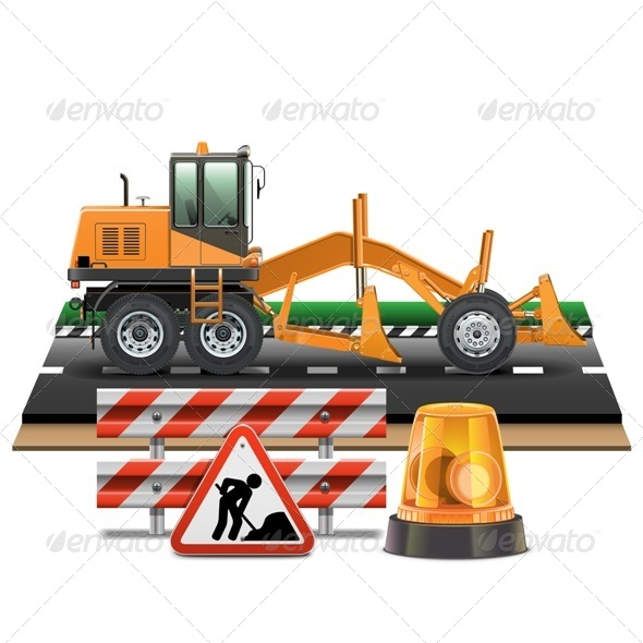 Vector Road Construction with Grader - Industries Business