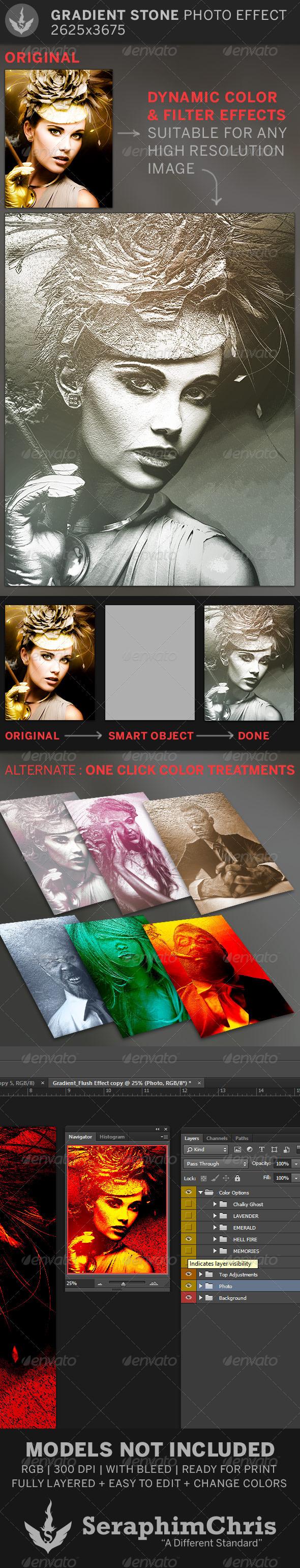 Gradient Stone Photo Effect Template - Artistic Photo Templates