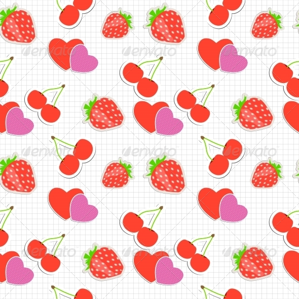 Strawberry, Cherry and Heart Seamless Pattern - Christmas Seasons/Holidays