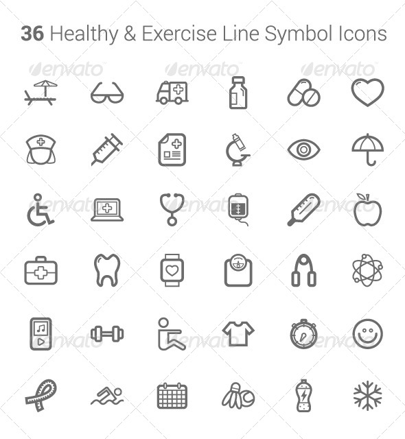 Healthy and Exercise Line Symbol Icons  - Conceptual Vectors