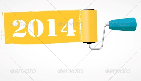 Paint Roll 2014 New Year Background - New Year Seasons/Holidays