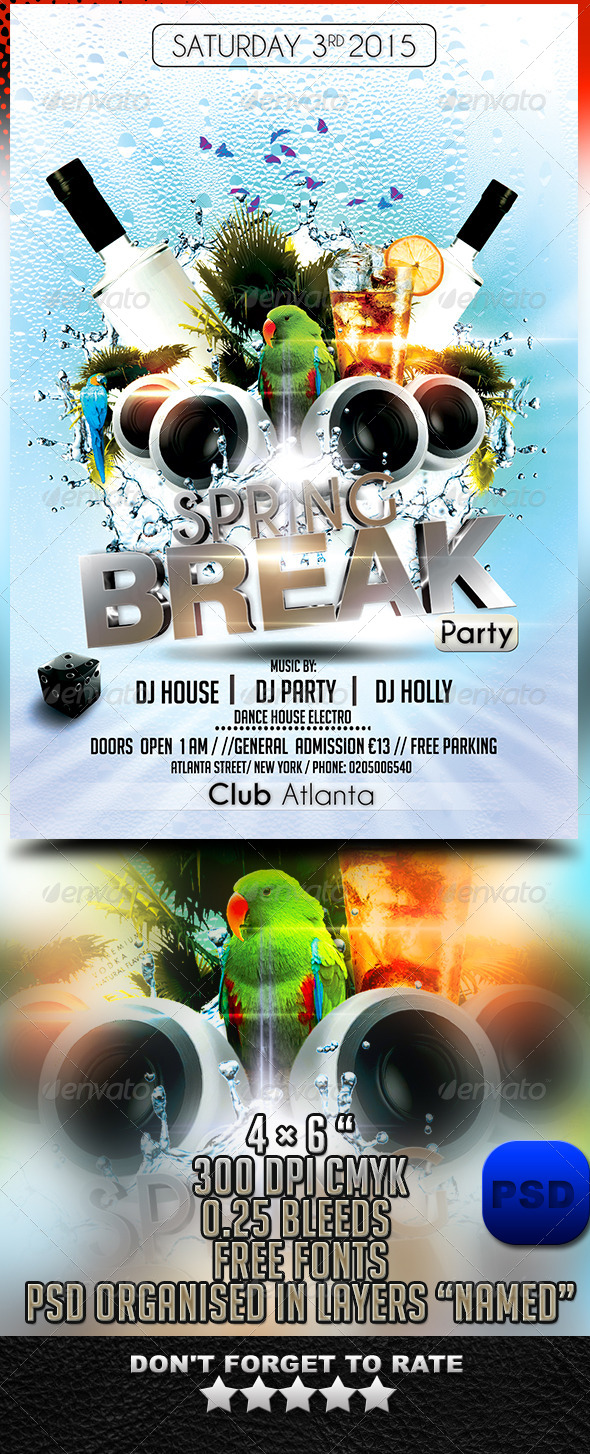 Hot Spring Break Flyer Template - Events Flyers