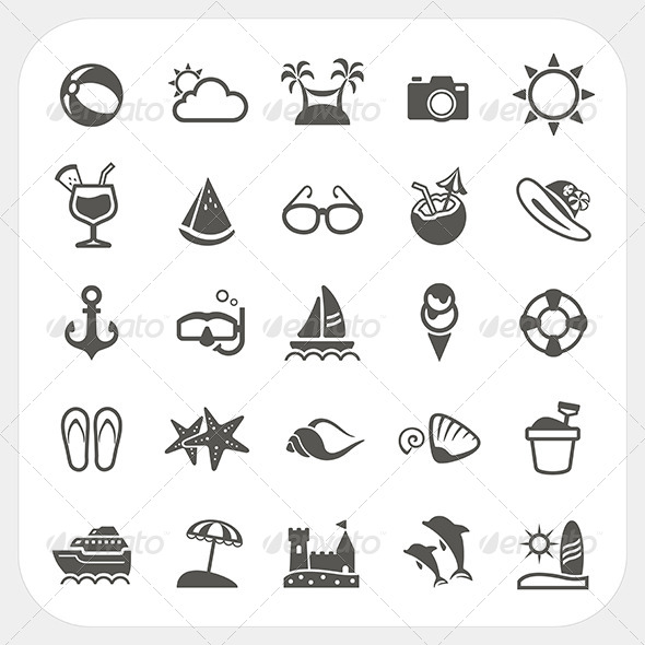Summer Vacation Icons Set  - Travel Conceptual