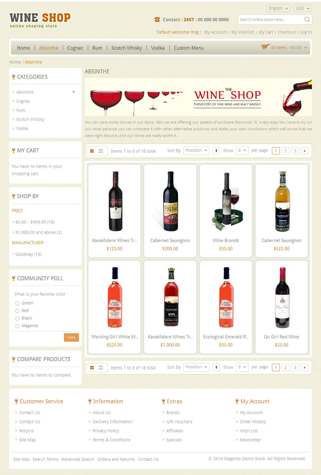 Wine Shop Magento Responsive Template By Templatemela