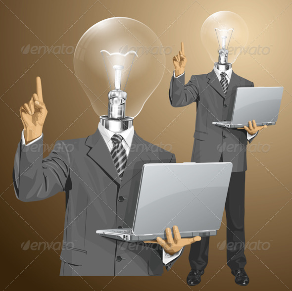 Lamp Head Businessman with Laptop - People Characters