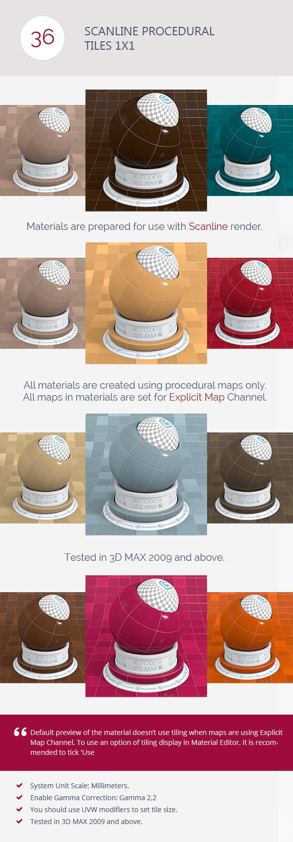 Scanline Procedural Tiles 1x1 - 3DOcean Item for Sale