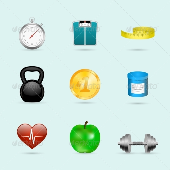 Fitness Sport Icons Set - Sports/Activity Conceptual