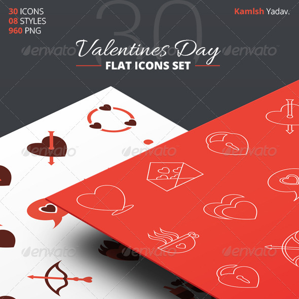 30 Flat Valentines Day Icon Set - Seasonal Icons