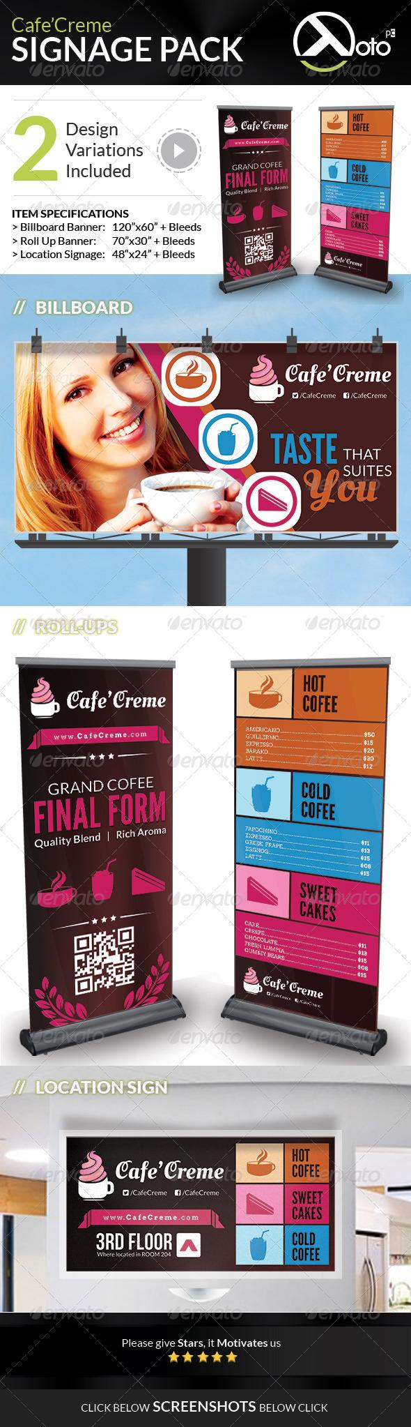 Cafe Creme Signages Pack - Signage Print Templates