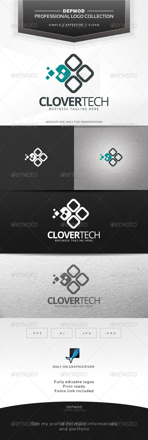 Clover Tech Logo - Abstract Logo Templates