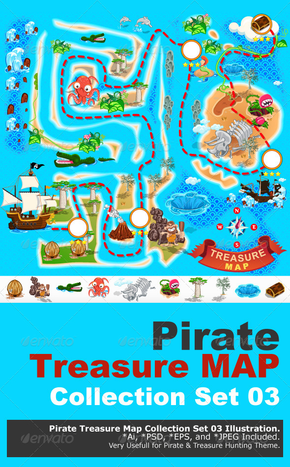 Pirate Treasure Map - Monsters Characters