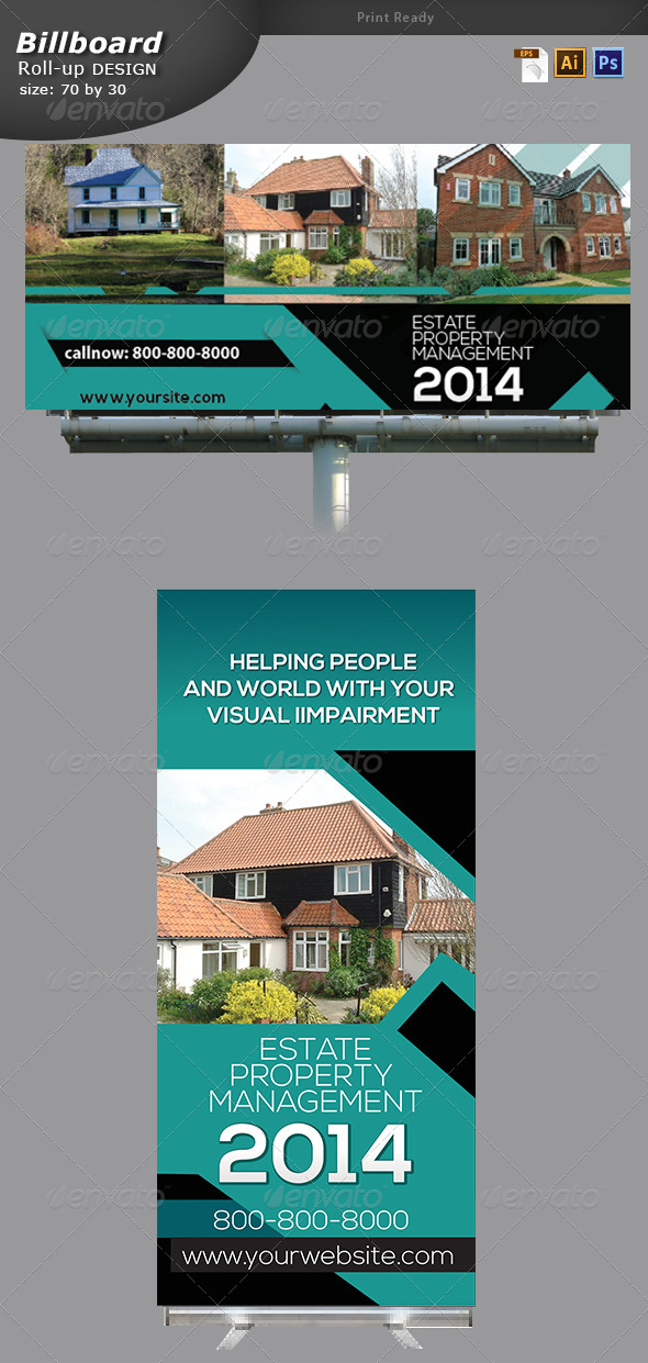 Real Estate Billboard and Roll up Banner Design  - Signage Print Templates