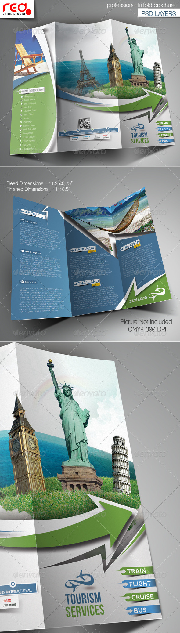 Travel Tours Trifold Brochure Template - Corporate Brochures