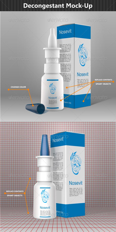 Nasal Decongestant  Mock-Up - Packaging Product Mock-Ups