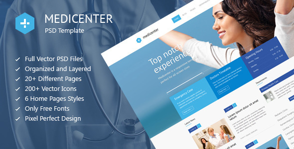 MediCenter - Medical Health PSD Template