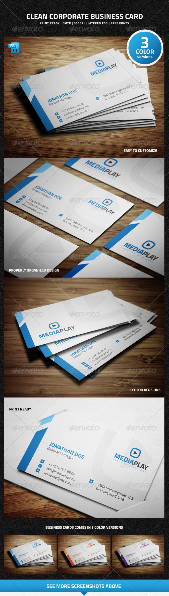 Clean Corporate Business Card - 29 - Corporate Business Cards