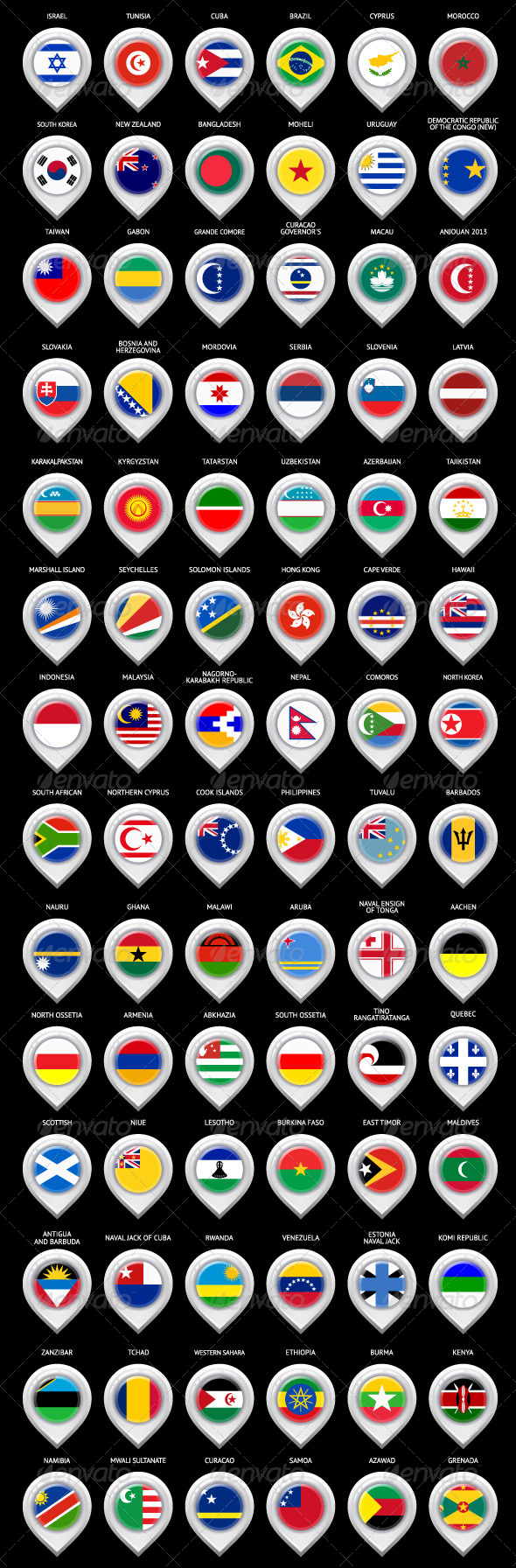 85 Map Markers Set with Flags - Travel Conceptual
