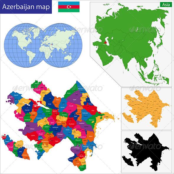 Azerbaijan Map - Travel Conceptual