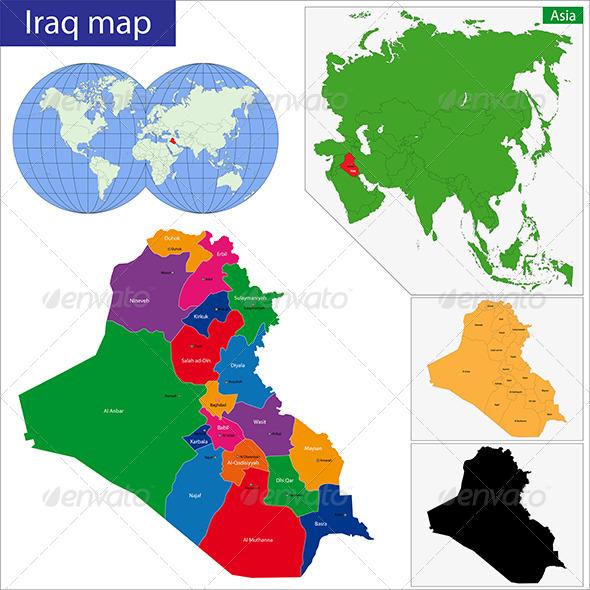 Iraq Map - Travel Conceptual