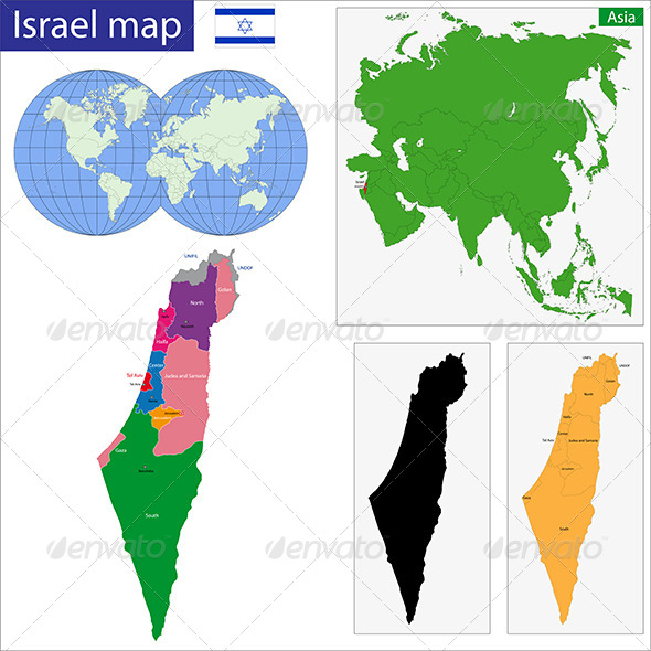 Israel Map - Travel Conceptual