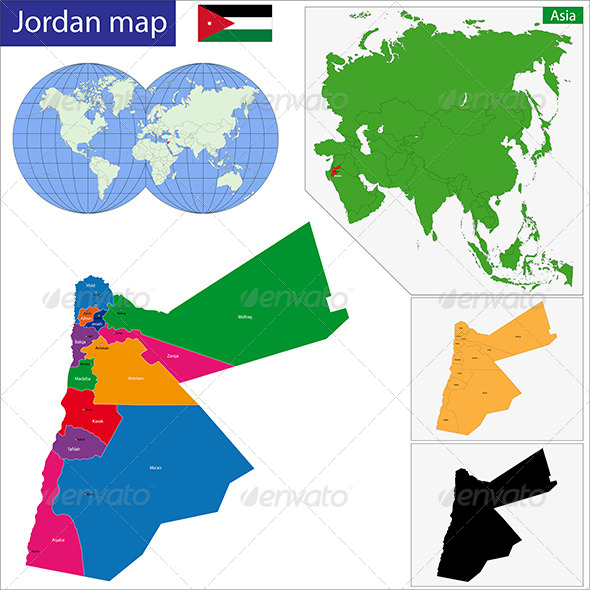 Jordan Map - Travel Conceptual