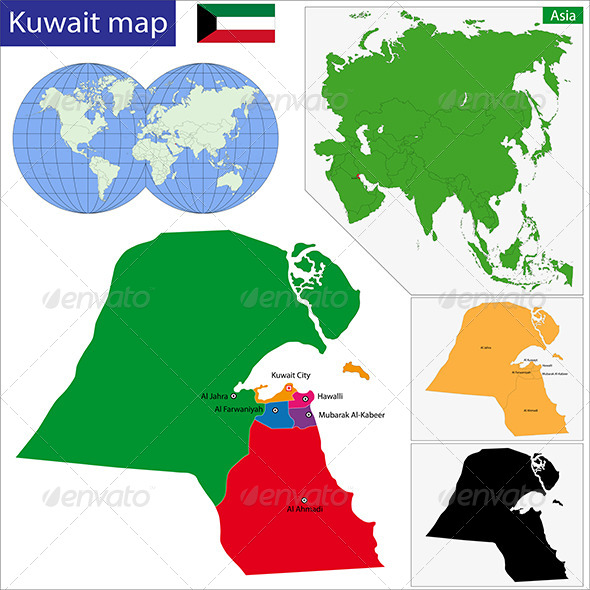Kuwait Map - Travel Conceptual