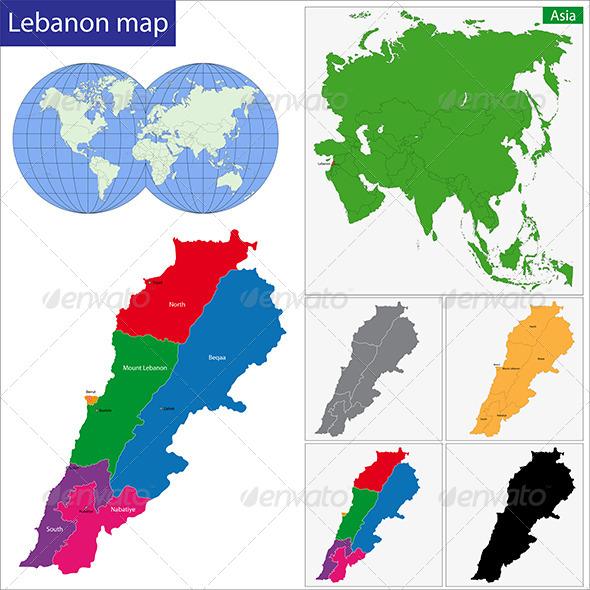Lebanon Map - Travel Conceptual