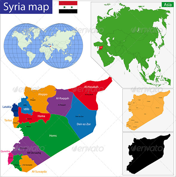 Syria Map - Travel Conceptual