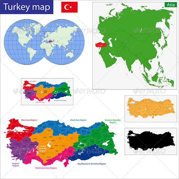 Turkey Map - Travel Conceptual