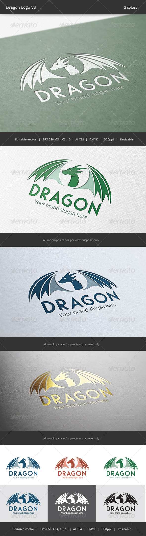 Dragon V3 Logo - Animals Logo Templates