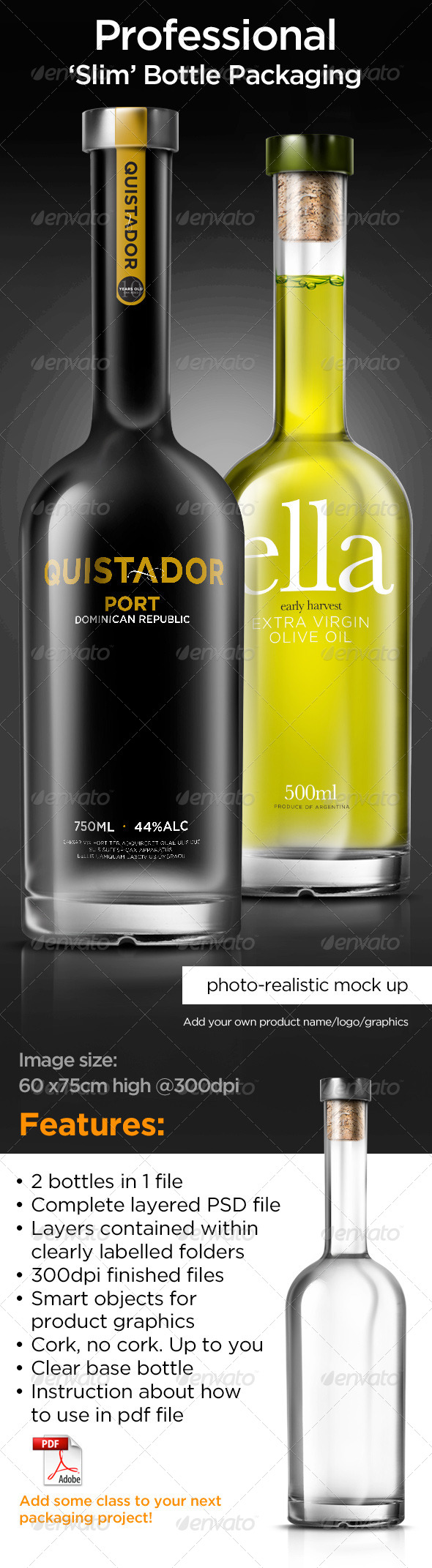 Tall Bottle Mock-Up - Product Mock-Ups Graphics