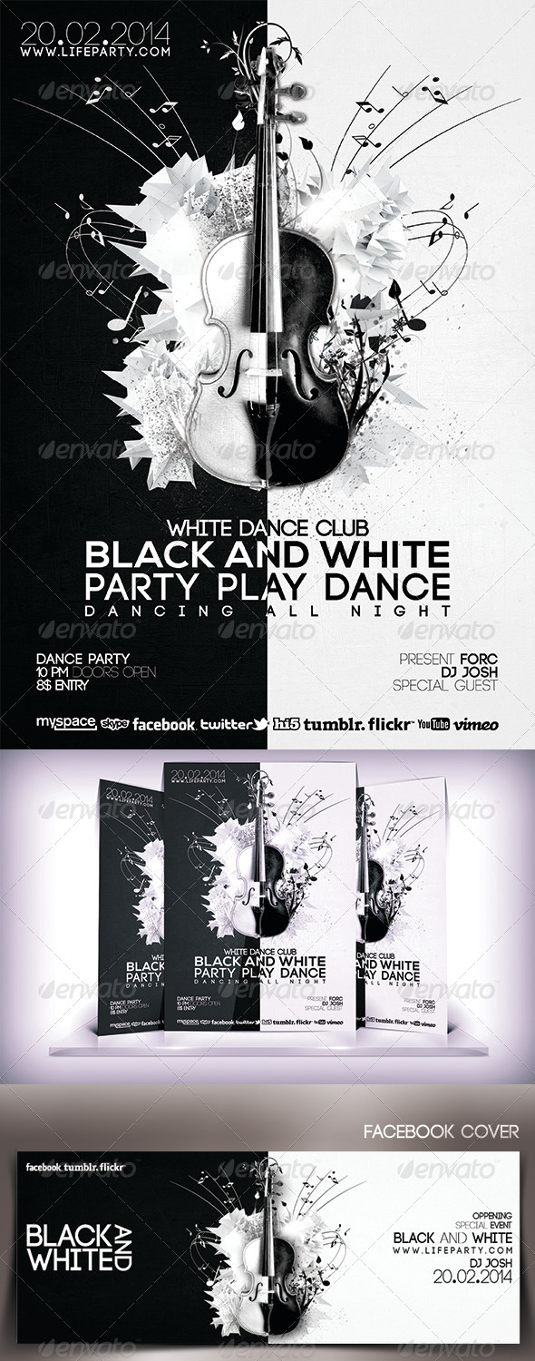 Black and White Musical Party Flyer - Flyers Print Templates