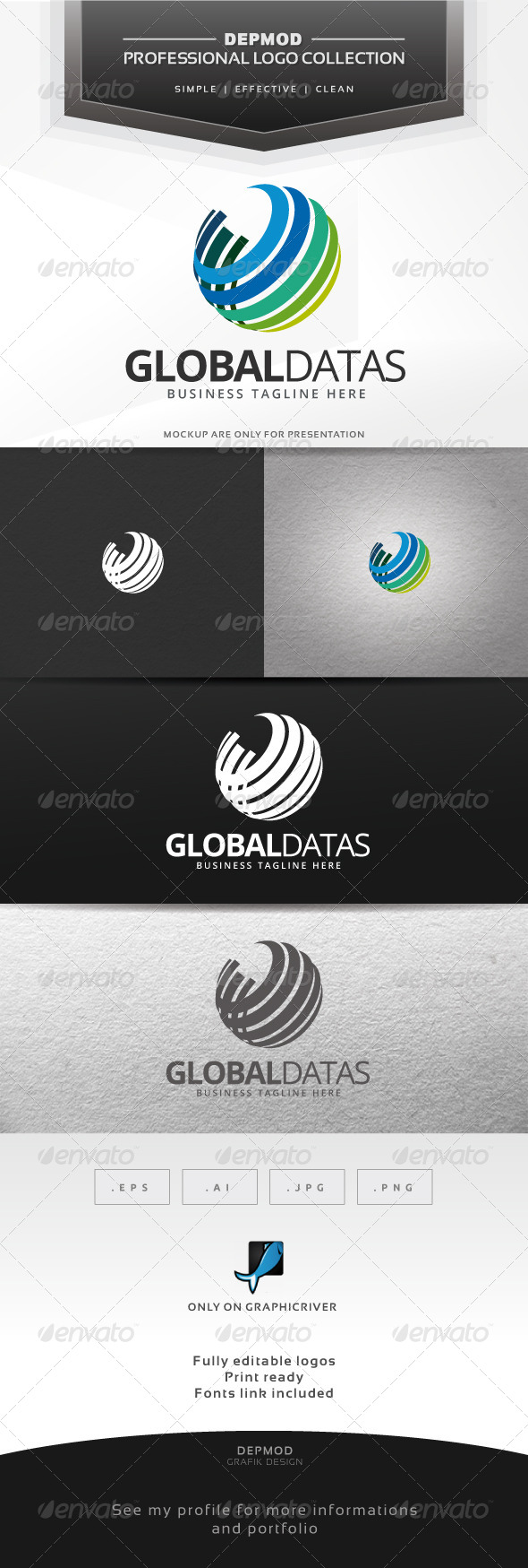 Global Datas Logo - Abstract Logo Templates