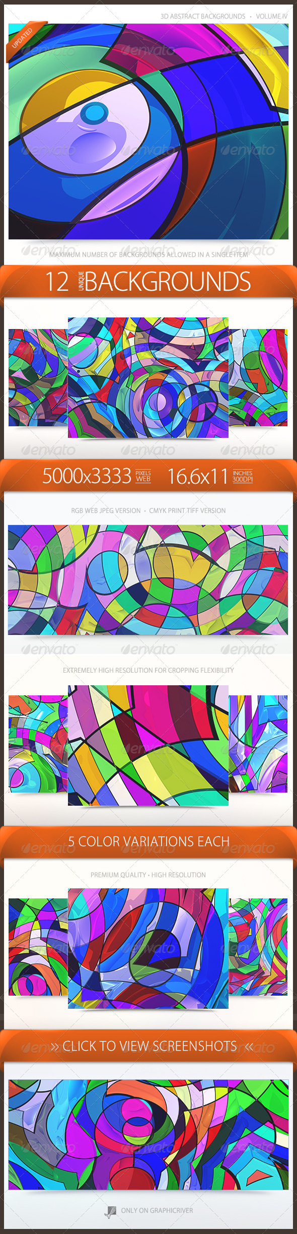 3D Abstract / Stained Glass Backgrounds Volume 4 - Abstract Backgrounds