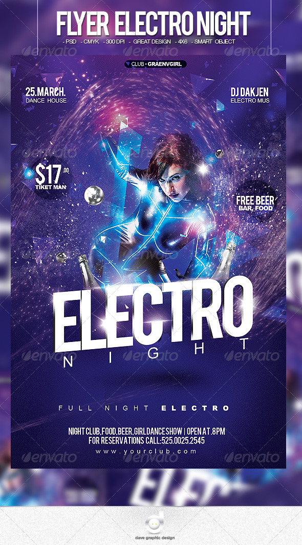 Flyer Electro Night Party - Clubs & Parties Events