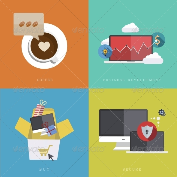 Flat Modern Icons on Sample Background - Web Technology