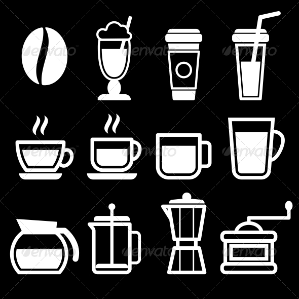 White Coffee Drinks Icons - Icons