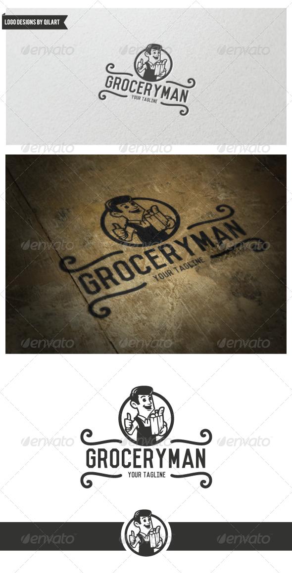 Vintage Grocery Man Logo - Crests Logo Templates