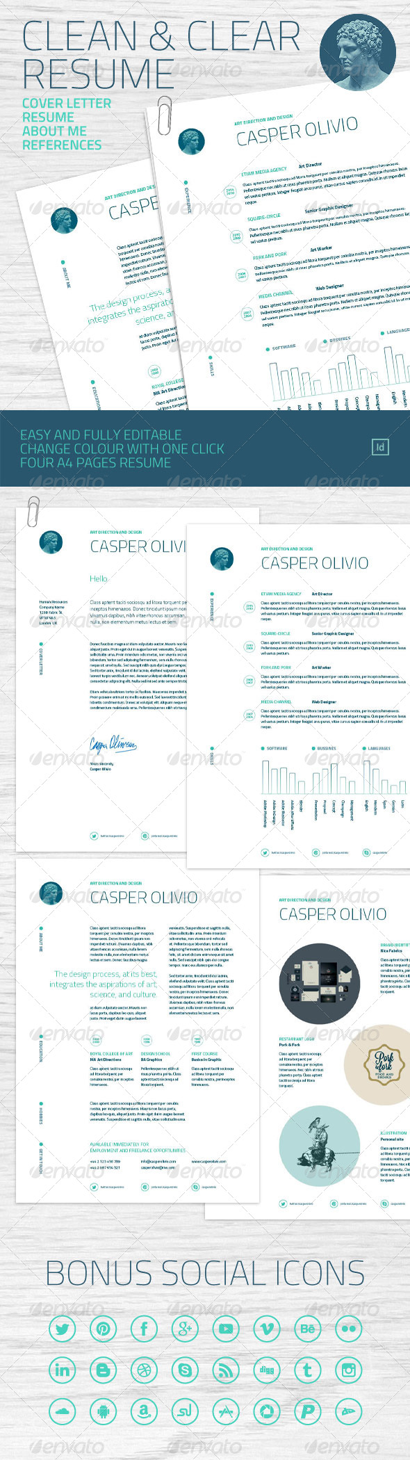 Clean and Clear Resume - Resumes Stationery