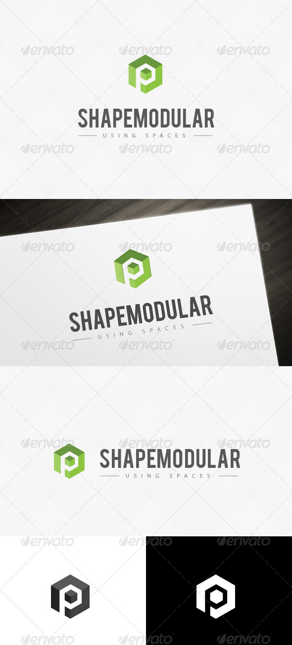 Module Space P Letter Logo Template - Abstract Logo Templates