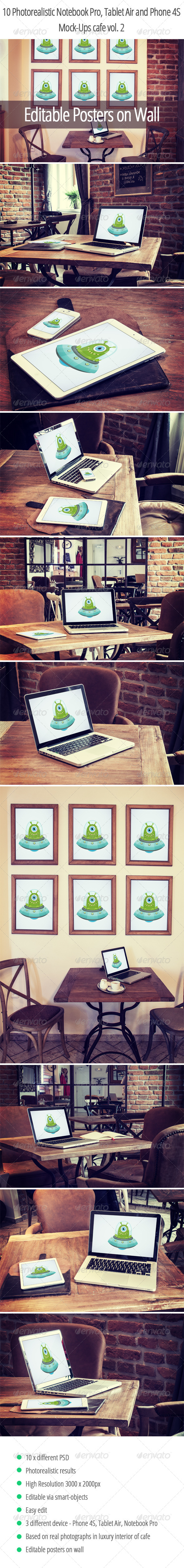 10 Photorealistic Device Mock-Ups in Cafe Vol.2 - Displays Product Mock-Ups