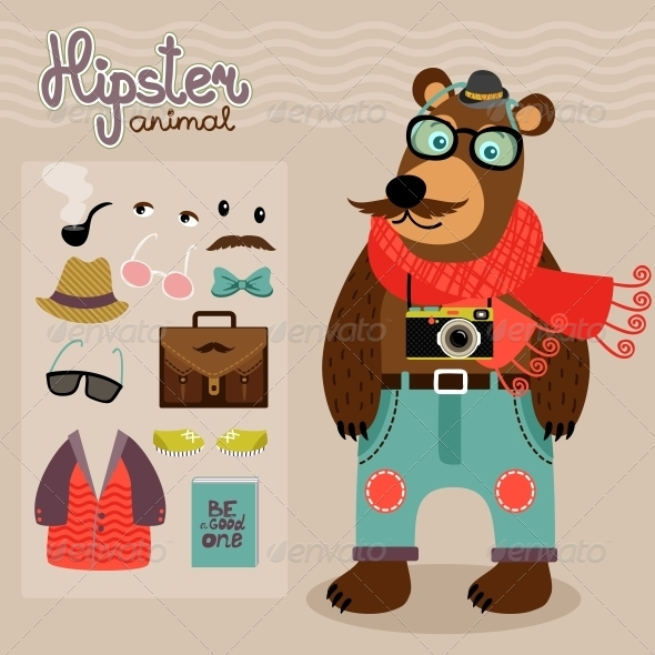 Hipster Pack for Animal Teddy Bear - Animals Characters