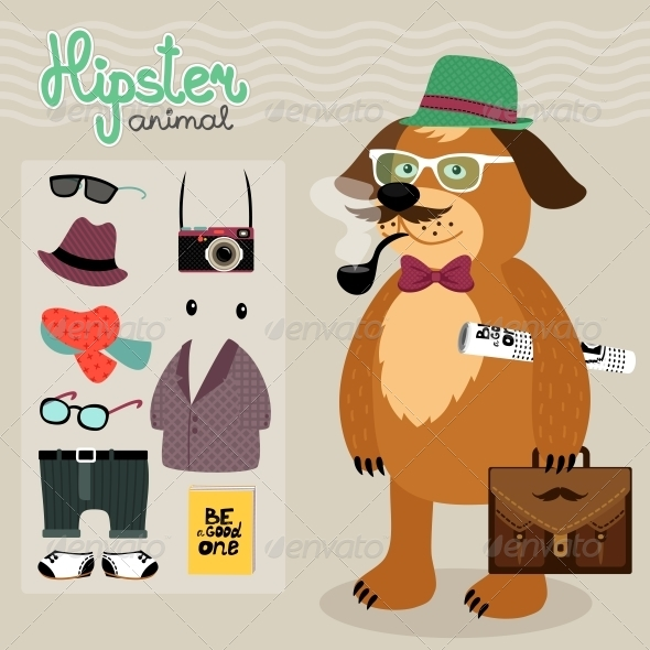 Hipster Elements for Puppy Dog - Animals Characters
