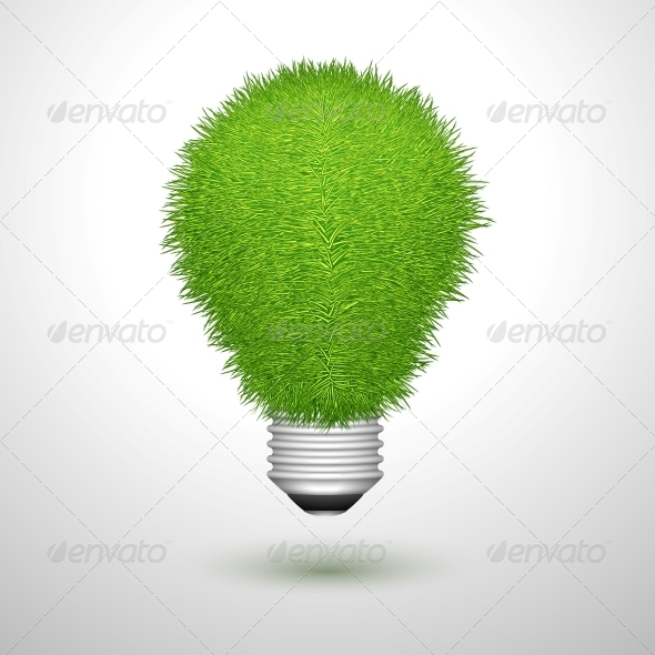 Green Creative Lightbulb Isolated - Concepts Business