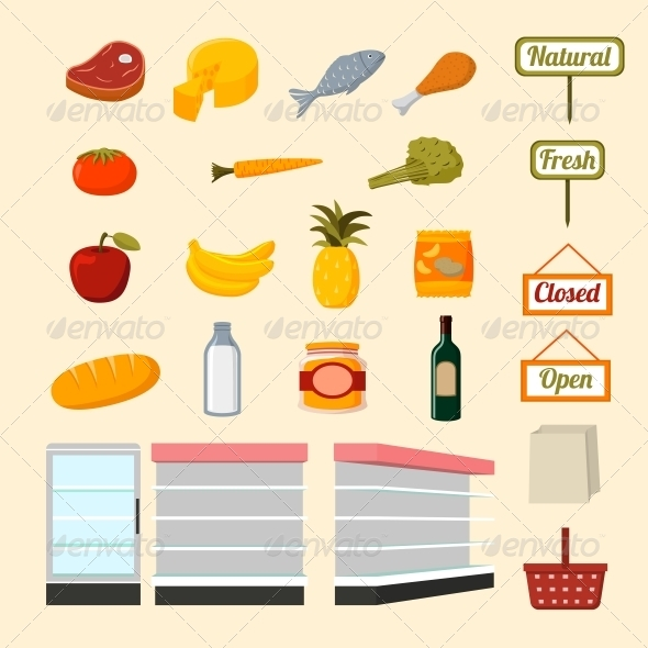 Collection of Supermarket Food Items - Food Objects