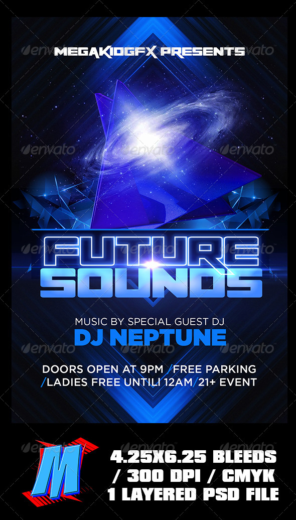 Future Sounds Flyer Template - Clubs & Parties Events