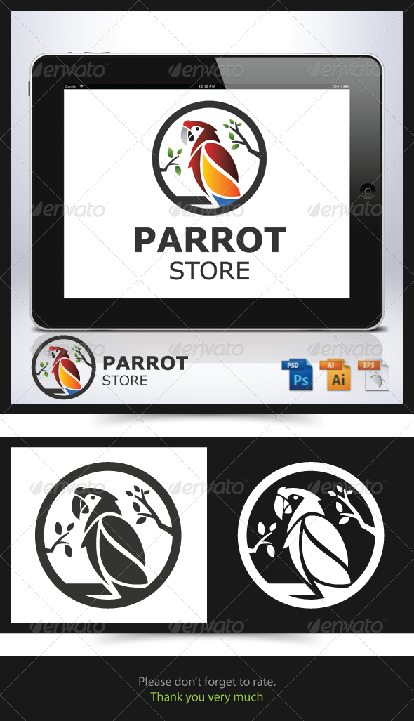 Parrot Store Logo - Animals Logo Templates