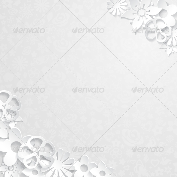 Floral Background with Paper Flowers - Backgrounds Decorative