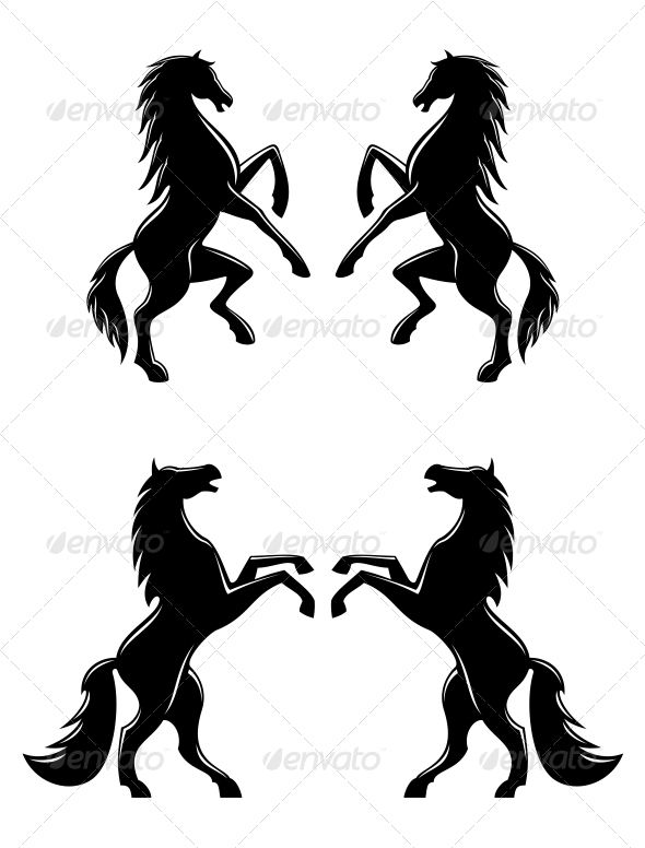 Silhouettes of Horses - Animals Characters