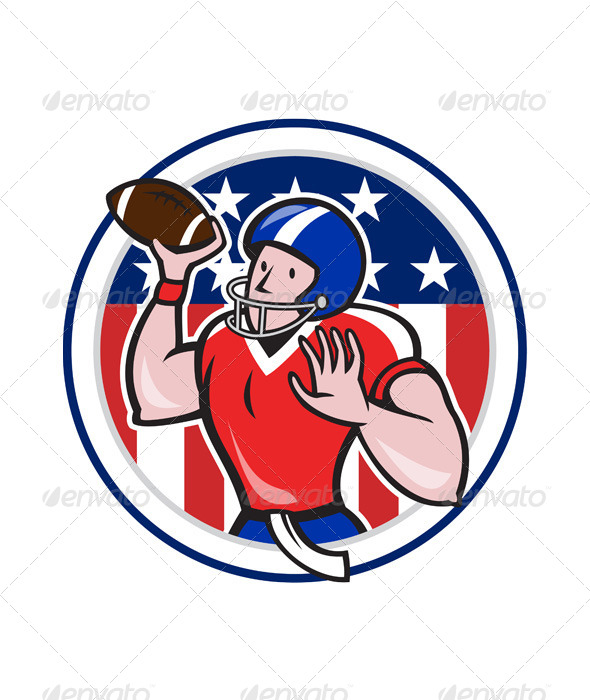Football Quarterback Throwing Circle Cartoon - Sports/Activity Conceptual